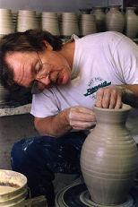 David throwing a pot